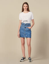Short Denim Skirt Trimmed With Studs : Copy of VP-FR-FSelection-Jupes&Shorts color Blue Jean