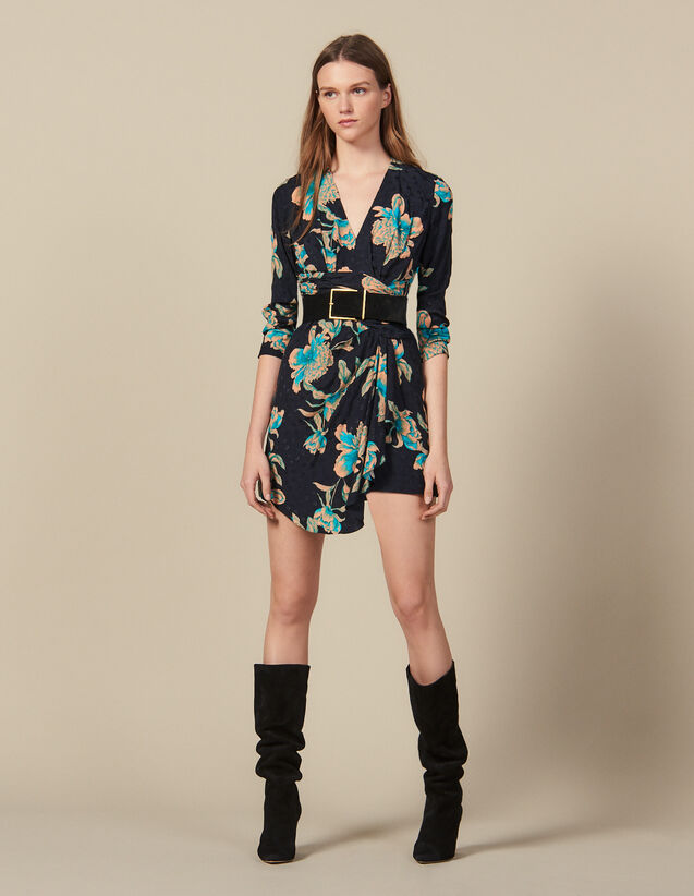 Short Printed Dress With Draped Belt : New In color Black