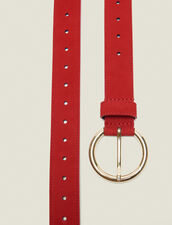 Leather Belt : Summer Collection color Rouge vif