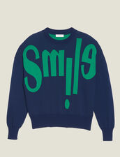 Sweater With Lettering On The Front : Sweaters & Cardigans color Navy Blue