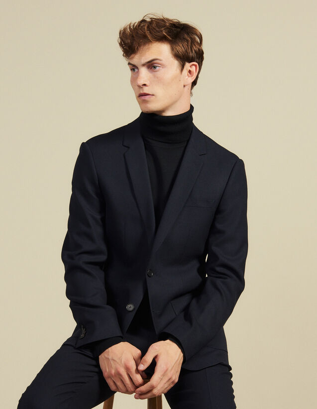 Slim-fit wool suit jacket : Suits & Tuxedos color Navy Blue