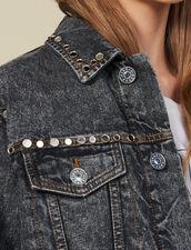 Snow Washed Denim Jacket With Studs : Blazers & Jackets color Black