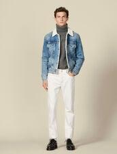 Denim jacket, faux sheepskin lining : LastChance-IT-H50 color Blue Vintage - Denim
