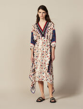 Printed Asymmetric Dress With Braid Trim : null color Multi-Color