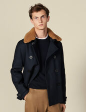 Pea Coat With Sheepskin Collar : LastChance-IT-H30 color Navy Blue
