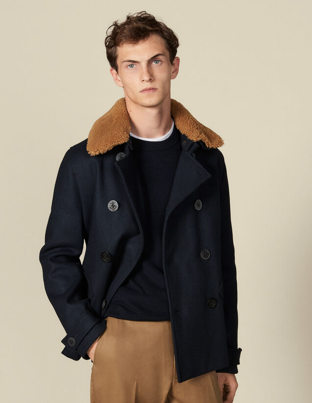Pea Coat With Sheepskin Collar : Trench coats & Coats color Navy Blue