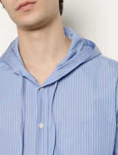 Striped hooded cotton shirt : Shirts color Blue/white