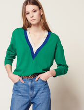 V-Neck Sweater With Two-Tone Edging : null color Green
