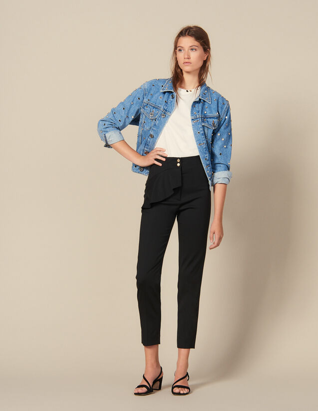 Tapered Trousers With Peplum : New In color Black