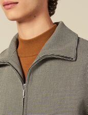 Micro Houndstooth  Zipped Jacket : Blazers & Jackets color Brown