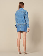 Denim Jacket Trimmed With Studs : Blazers & Jackets color Blue Jean