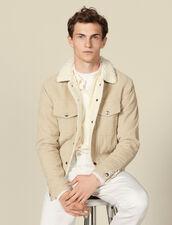 Corduroy jacket, faux sheepskin lining : LastChance-IT-H50 color Beige