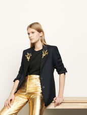 Tailored jacket with jewelled patches : Blazers & Jackets color Navy Blue