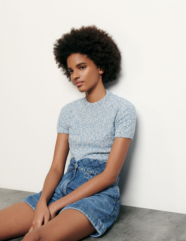 Mottled cropped sweater : New Summer Collection color Blue sky