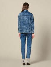 Denim Shirt Trimmed With Studs : Tops & Shirts color Midnight Blue Denim