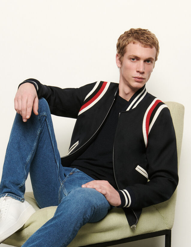 Tricolour ribbed varsity jacket : Blazers & Jackets color Navy Blue