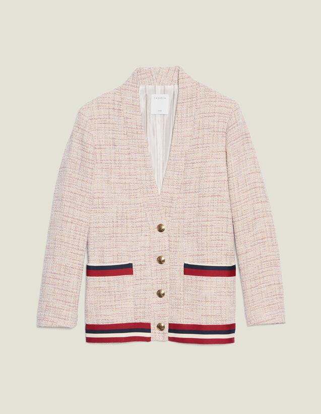 Tweed Cardigan-Jacket : null color Pink