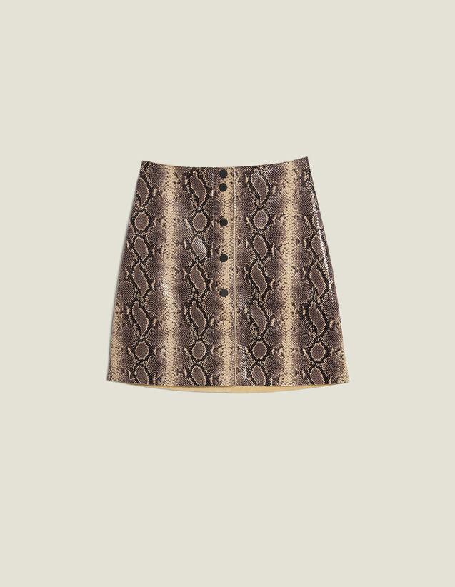 Short Python Print Leather Skirt : Skirts & Shorts color Python