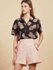High Waisted Shorts With Ruffles : null color Pink
