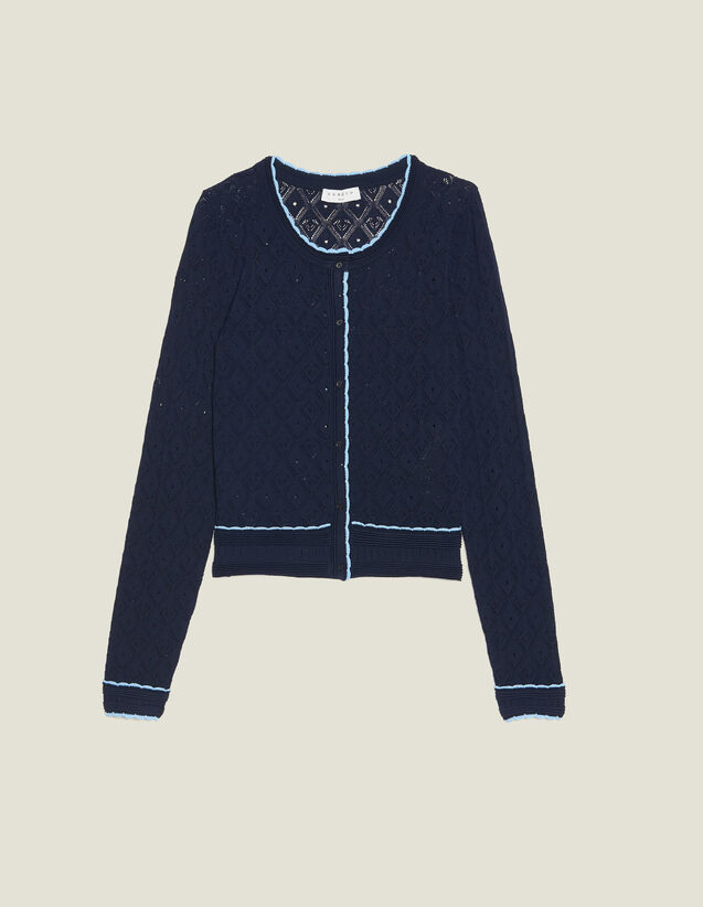 Cropped Pointelle Knit Cardigan : null color Navy Blue