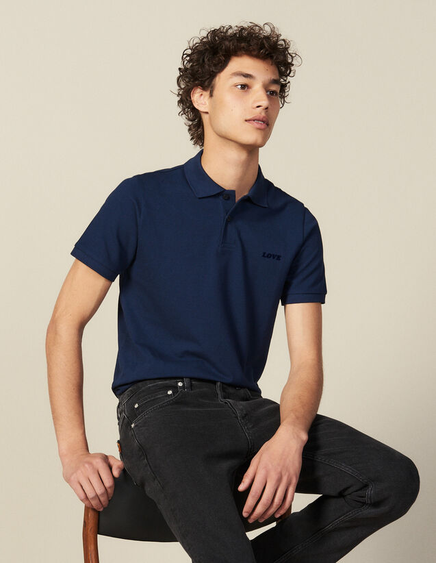 Cotton Polo Shirt With Lettering : Winter Collection color Blue