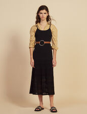 Long Knit And Crochet Dress : All Selection color Black