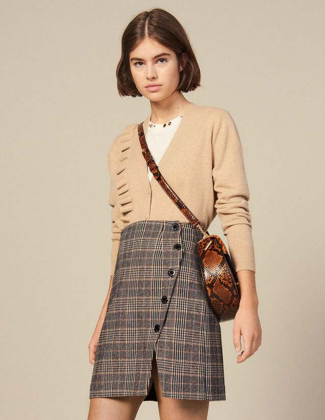 Checked Wrapover Skirt With Slit : Skirts & Shorts color Camel