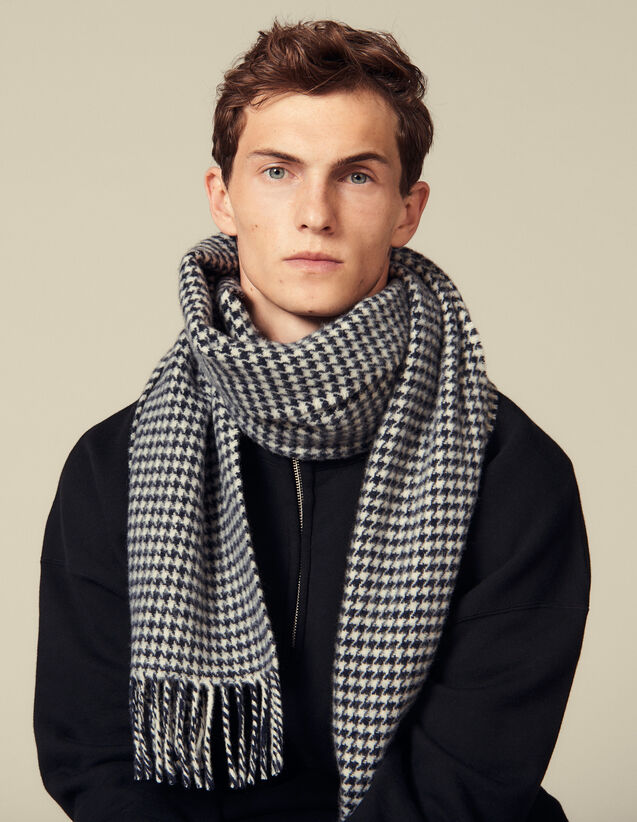 Houndstooth Wool Scarf : Scarves color Navy/Ecru