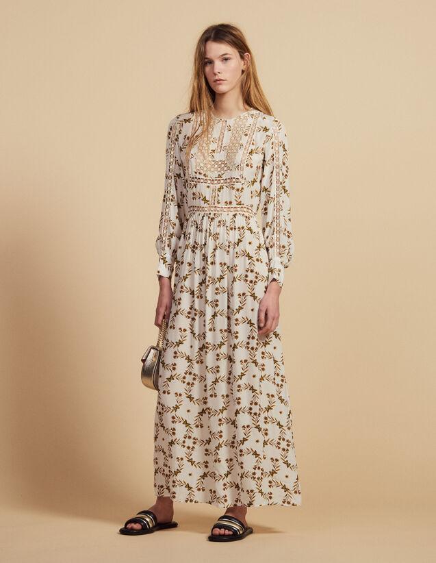 Long Dress With Butterflies Print : Dresses color Ecru