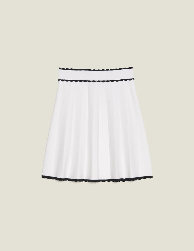 Pleated Effect Short Knit Skirt : null color Ecru