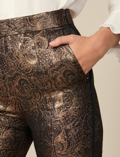 Flared Brocade Tailored Trousers : Copy of Pants and Jeans color Gold