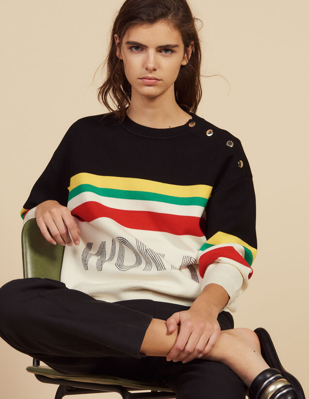 Multi-Coloured Striped Slogan Sweater : Sweaters & Cardigans color Black