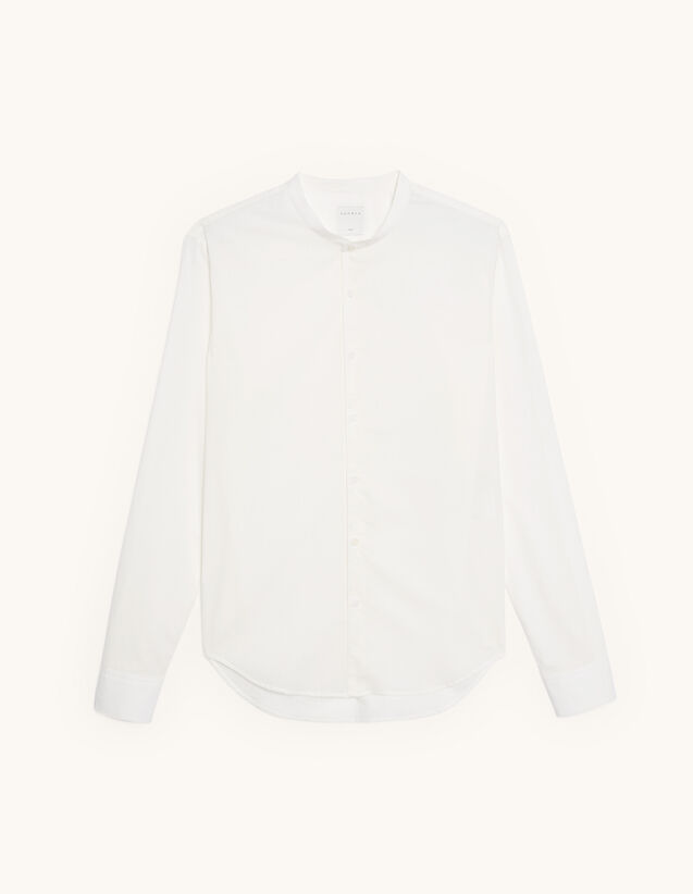 Cotton shirt with mandarin collar : Shirts color white