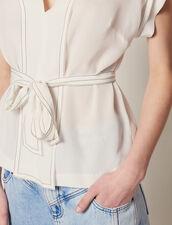 Silk V-Neck Top : null color Ecru