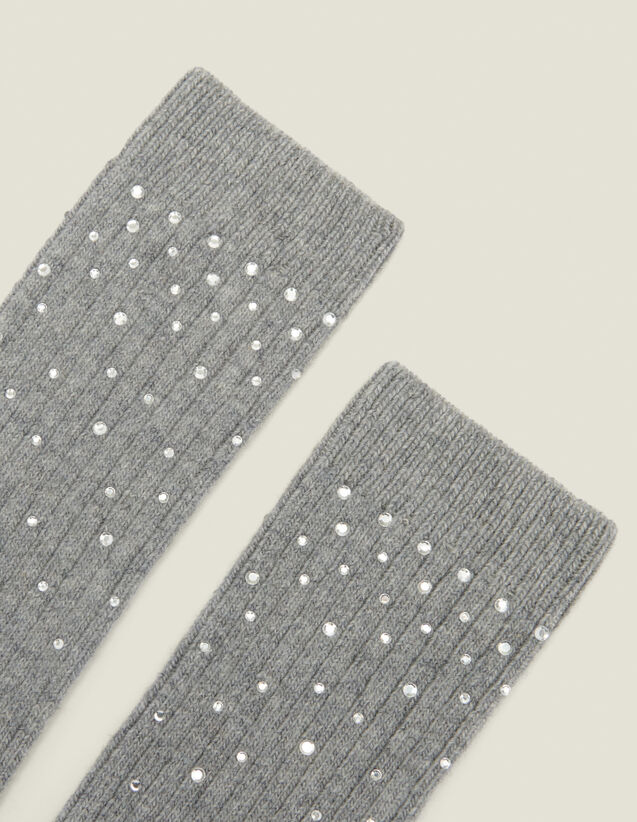 Socks embellished with rhinestones : Socks color Dark Grey