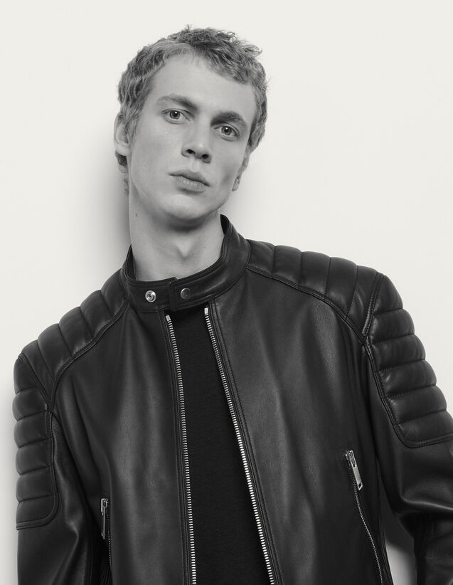 Leather jacket with quilted trims : Blazers & Jackets color Black