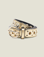 Belt with eyelets : All Winter collection color Gold