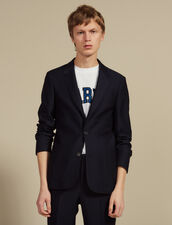 Basketweave Wool Suit Jacket : Sélection Last Chance color Navy Blue