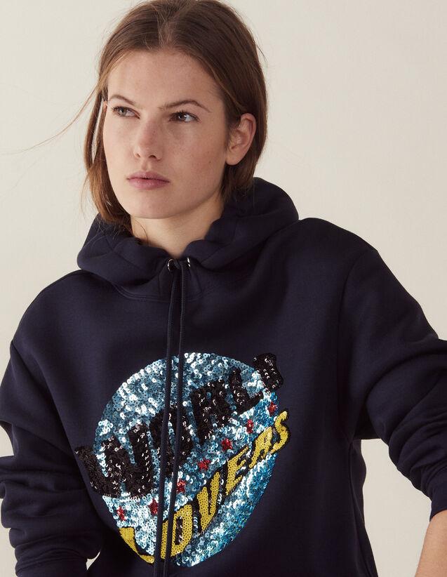 Hoodie Sweatshirt With Sequins : Sweatshirts color Navy Blue