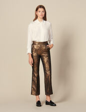 Flared Brocade Tailored Trousers : Pants color Gold