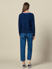Knitted sweater with wide two-tone trim : Sweaters & Cardigans color Navy Blue