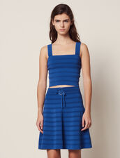 Short Flared Knit Skirt : null color Blue Jean