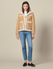 Short Sheepskin Coat With Hood : LastChance-ES-F40 color Beige