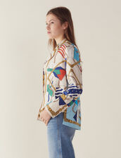 Printed Pyjama-Style Shirt : Printed shirt color Ecru