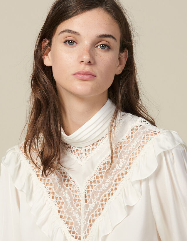 Top With Lace Insert : Tops & Shirts color Ecru