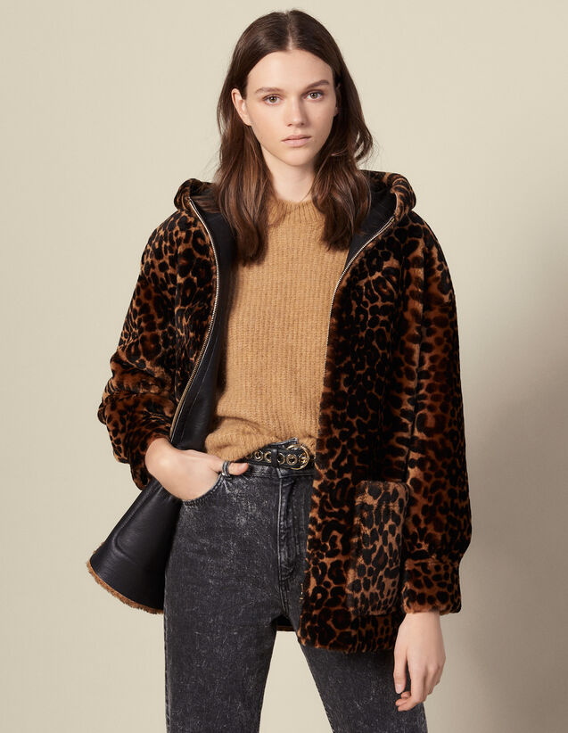 Printed sheepskin coat : Coats color Leopard