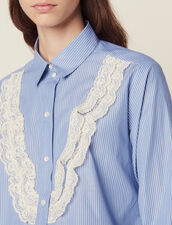 Shirt With Fine Stripes And Lace : LastChance-FR-FSelection color Sky Blue