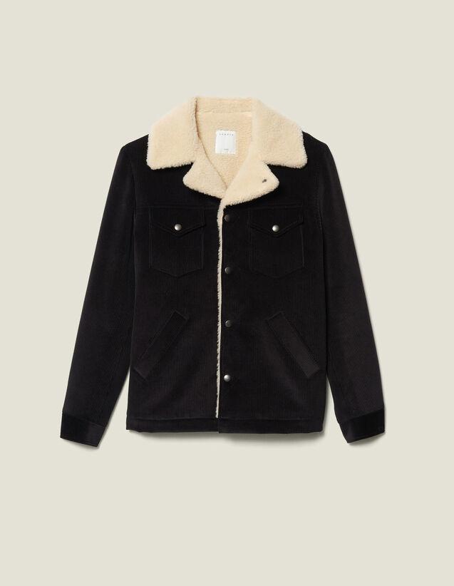 Velvet jacket sheepskin-effect lining : Blazers & Jackets color Black