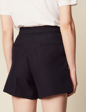 High-Waisted Shorts With Ruffles : All Selection color Navy Blue