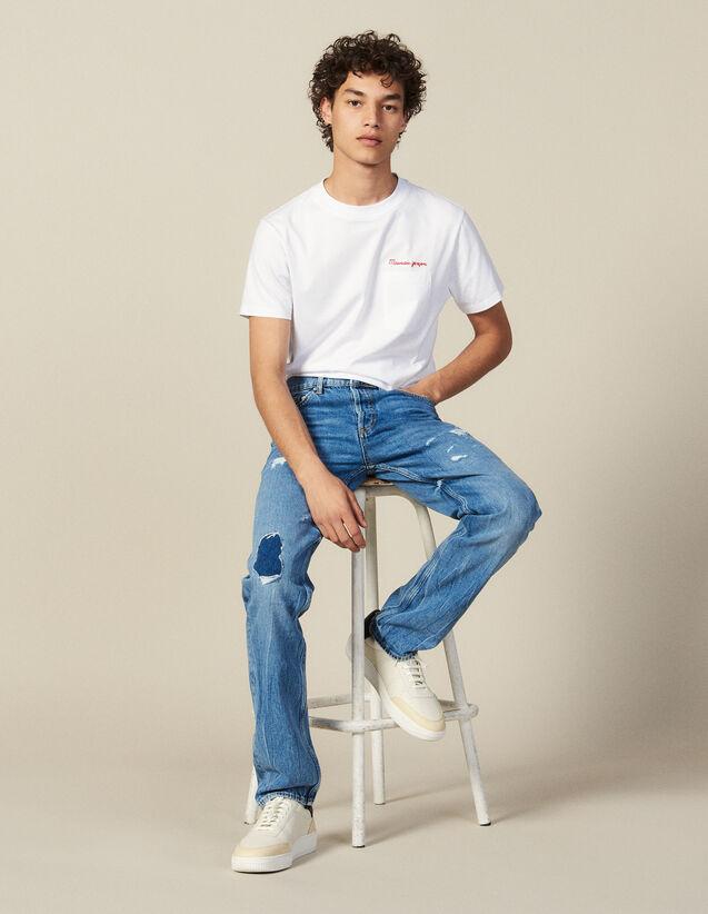 Destroyed Cotton Slim-Fit Jeans : New Collection color Blue Vintage - Denim